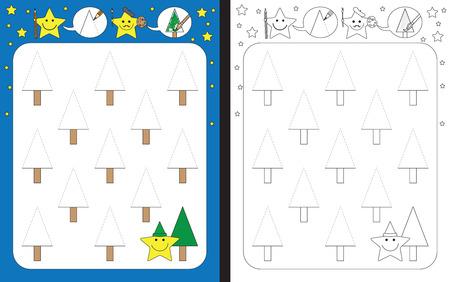 Préscolaire feuille de calcul pour la pratique de la motricité fine - tracer des lignes en pointillés