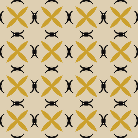 Seamless illustrated pattern made of abstract elements in bege, yellow and black