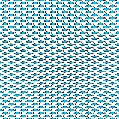 Seamless illustrated pattern made of fishes on white