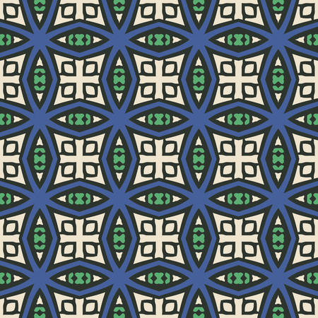 Seamless illustrated pattern made of abstract elements in bege, blue, green and black