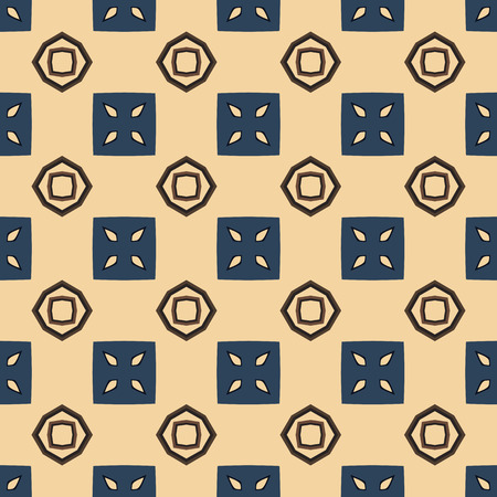 Seamless illustrated pattern made of abstract elements in bege, blue and brown