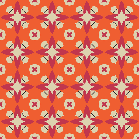Seamless illustrated pattern made of abstract elements in bege, orange and red
