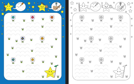 dexterity: Preschool worksheet for practicing fine motor skills - tracing dashed lines and finishing flower garden Illustration