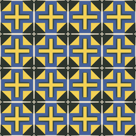 beige: Seamless illustrated pattern made of abstract elements in black, beige, blue and yellow