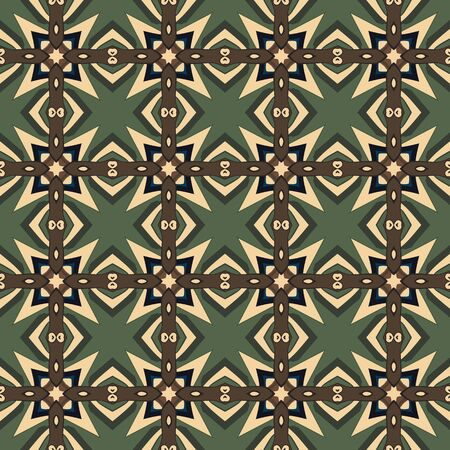 beige: Seamless illustrated pattern made of abstract elements in beige, green, brown and blue Illustration