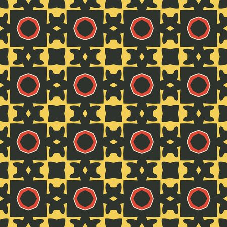 yelow: Seamless illustrated pattern made of abstract elements in black, yelow, red and beige