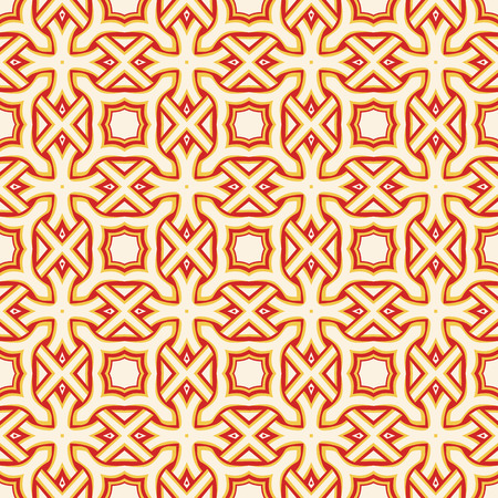 Seamless illustrated pattern made of abstract elements in red, yellow and beige