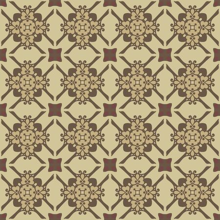 beige: Seamless illustrated pattern made of abstract elements in beige and brown