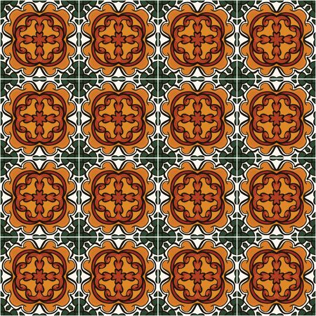 Seamless pattern illustration in traditional style - inspired by Mexican ceramic tiles