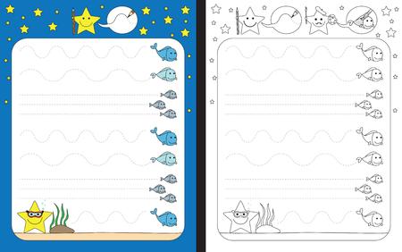 Preschool worksheet for practicing fine motor skills - tracing dashed lines Vektorové ilustrace
