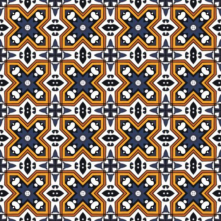inspired: Seamless pattern illustration in traditional style - inspired by Portuguese tiles Illustration