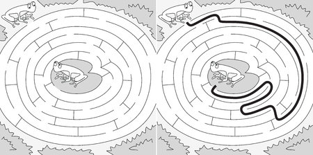 Easy frogs maze for younger kids with a solution in black and white Illustration