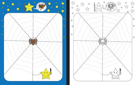 Hoja de trabajo preescolar para practicar habilidades motrices finas - trazar líneas punteadas - terminar la tela de araña