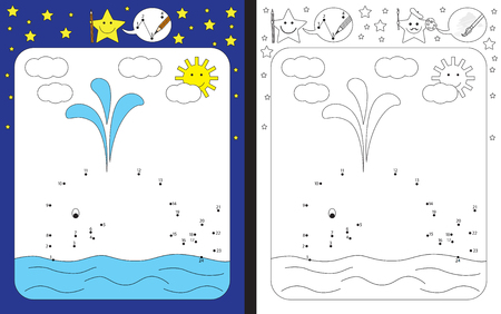 Preschool worksheet for practicing fine motor skills and recognizing numbers - connecting dots by numbers to finish illustration of a whale Illustration