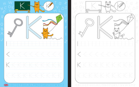 dexterity: Worksheet for practicing letter writing - tracing letter K