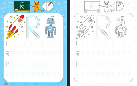 Worksheet for practicing letter writing - tracing letter R