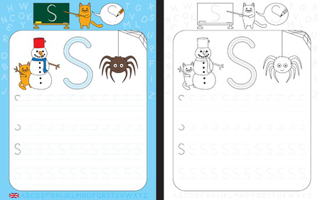 cat s: Worksheet for practicing letter writing - tracing letter S Illustration