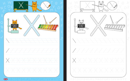 dexterity: Worksheet for practicing letter writing - tracing letter X Illustration