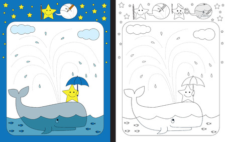 Preschool worksheet for practicing fine motor skills - tracing dashed lines of water Ilustrace