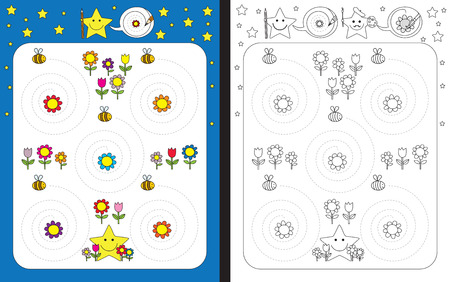 dexterity: Preschool worksheet for practicing fine motor skills - tracing spiral dashed lines - bees flying around flowers Illustration
