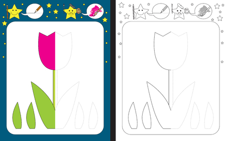 dexterity: Preschool worksheet for practicing fine motor skills - tracing dashed lines - finish the illustration of tulip