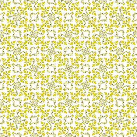 Seamless illustrated pattern made of yellow and brown abstract elements on white Illustration