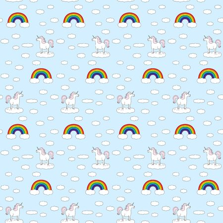 Seamless pattern made of illustrated unicorns, rainbows and clouds on light blue Illustration