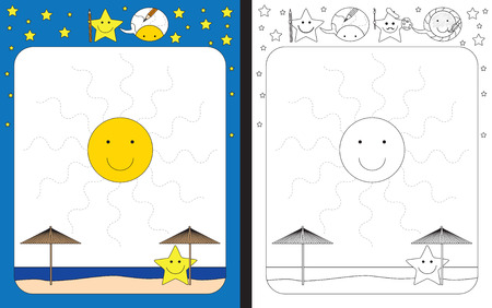 ray tracing: Preschool worksheet for practicing fine motor skills - tracing dashed lines of sun rays Illustration