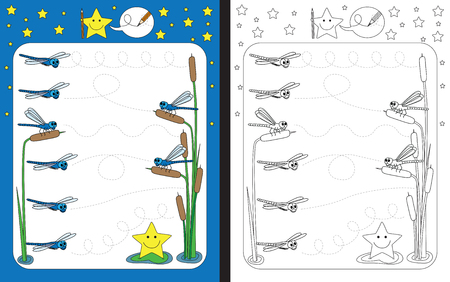 dashed: Preschool worksheet for practicing fine motor skills - tracing dashed lines from one dragonfly to another