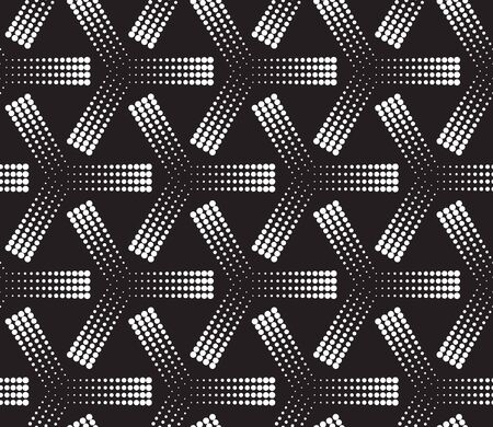 Seamless illustrated halftone pattern made of white dots on black Ilustrace