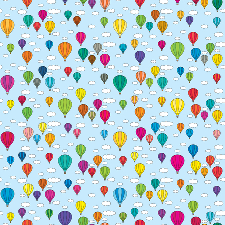 Beautiful Seamless illustrated pattern made of colorful hot air balloons in the sky with clouds Illustration