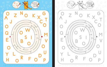 dexterity: Worksheet for learning alphabet - recognizing capital letter O - maze in the shape of capital letter O