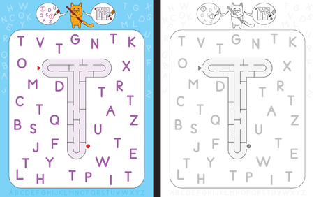 Worksheet for learning alphabet - recognizing capital letter T - maze in the shape of capital letter T
