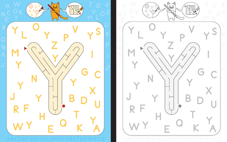 dexterity: Worksheet for learning alphabet - recognizing capital letter Y - maze in the shape of capital letter Y