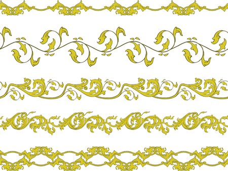 Set of five illustrated decorative borders made of floral elements in yelow and brown