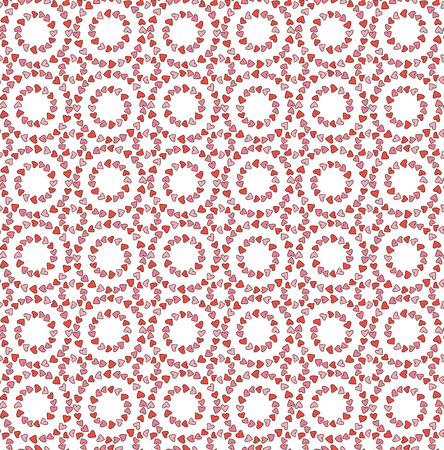 Seamless illustrated pattern made of pink and red hearts on white