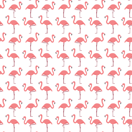 Seamless pattern made of illustrated flamingos