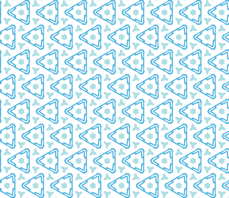 Seamless illustrated pattern made of abstracr turquoise elements and triangles on white
