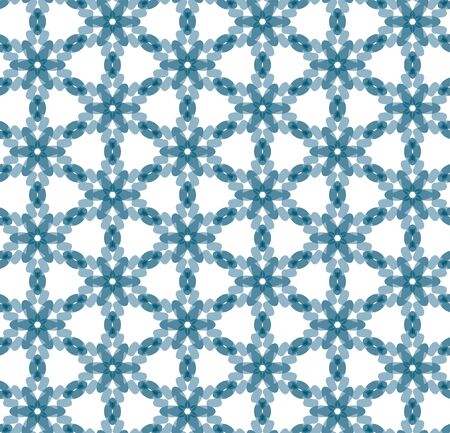 Seamless illustrated pattern made of abstract blue elements on white