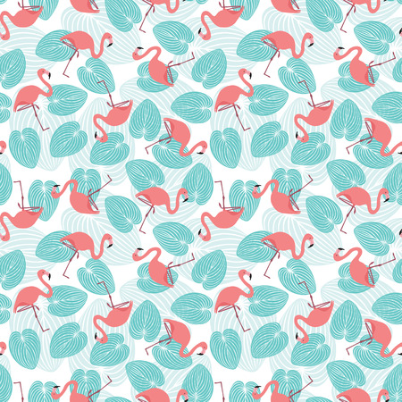 Seamless pattern made of illustrated flamingos and turquoise leaves on white Illustration