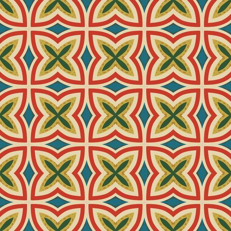 Seamless illustrated pattern made of abstract elements in beige, turquoise, yellow, red and green and orang