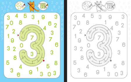 dexterity: Worksheet for learning numbers - recognizing number 3 - maze in the shape of number 3 Illustration