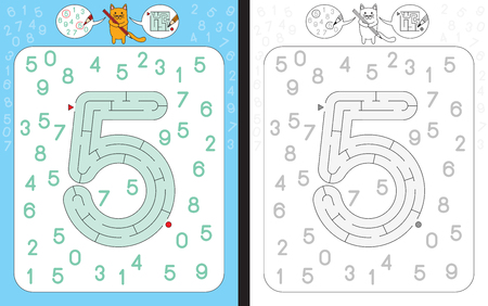 Worksheet for learning numbers - recognizing number 5 - maze in the shape of number 5 Çizim