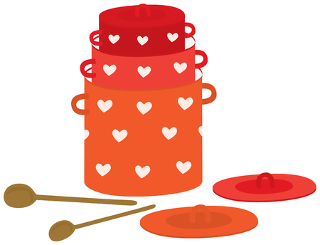 Illustration of three red pot with white hearts