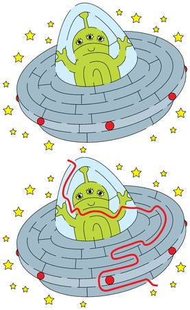 Easy alien maze for younger kids with a solution