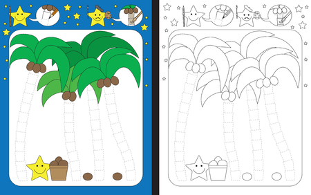 Preschool worksheet for practicing fine motor skills - tracing dashed lines - finishing coconut trees