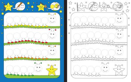 Voorschoolse werkblad voor het beoefenen van fijne motoriek - het traceren van stippellijnen - afwerking duizendpoten illustraties Stock Illustratie