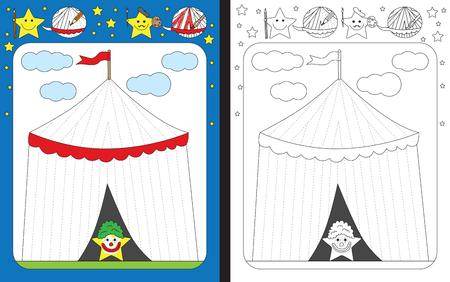 Preschool worksheet for practicing fine motor skills - tracing dashed lines of a circus tent Illusztráció