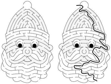 Easy Santa Claus maze for younger kids with a solution in black and white