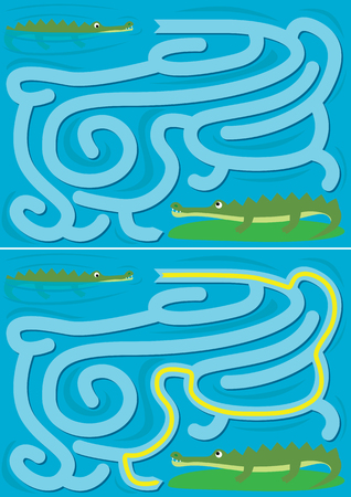 Easy alligator maze for younger kids with a solution Illustration